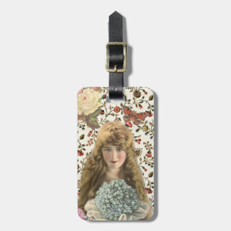 Vintage Woman with Calico Floral Pattern Luggage Tag
