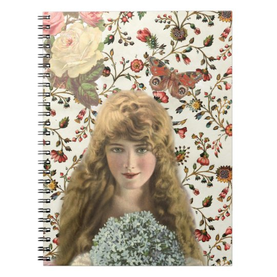 Vintage Woman with Calico Floral Pattern Notebook