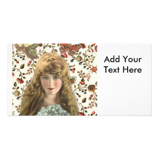 Vintage Woman with Calico Floral Pattern Customized Photo Card