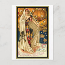 Vintage Woman with Cape Post Card