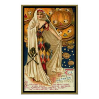Vintage Woman with Cape Poster