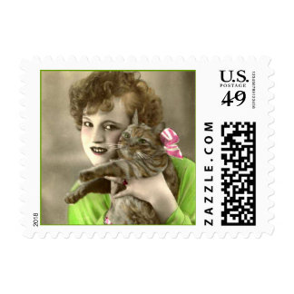 Vintage Woman with Cat Postage