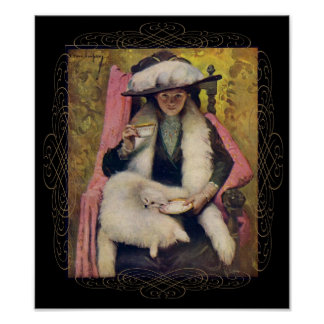 Vintage Woman with Cat Poster