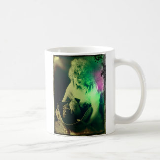 Vintage Woman with Cats in a Basket Artwork Classic White Coffee Mug