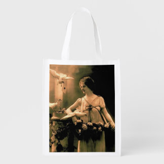 Vintage Woman With Doves Grocery Bag