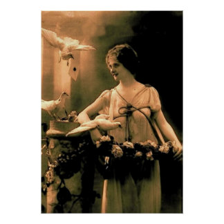 Vintage Woman with Doves Poster