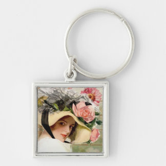 Vintage Woman with Flowers Keychain