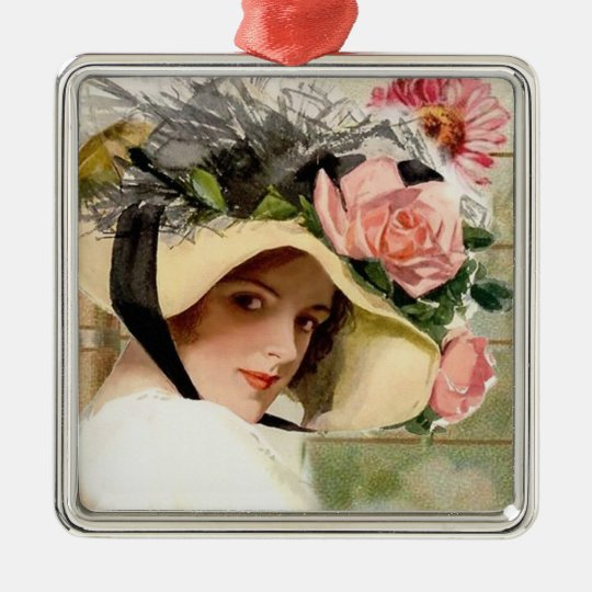 Vintage Woman with Flowers Metal Ornament