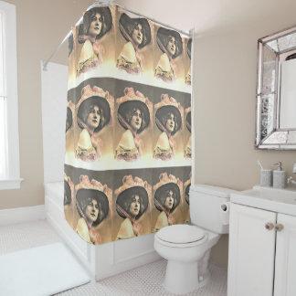 vintage woman with hat retro shower decor shower curtain
