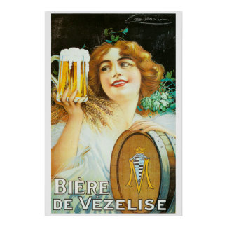 Vintage woman with large pint of beer French Poster