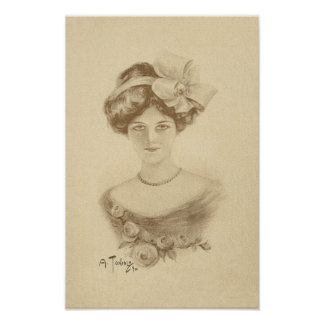 Vintage Woman with Roses Poster