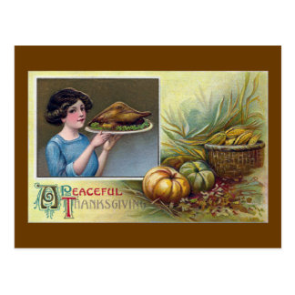 Vintage Woman with Turkey Dinner for Thanksgiving Postcard