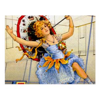 Vintage Women Circus Performer High Wire Postcard