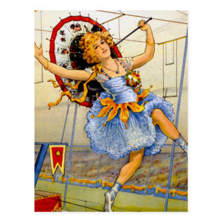 Vintage Women Circus Performer High Wire Postcard