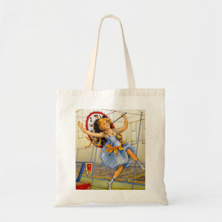 Vintage Women Circus Performer High Wire Tote Bag