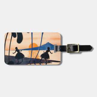 Vintage Women Dance Hoola Skirt Tropical Sunset Luggage Tag