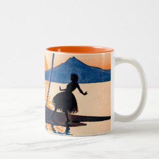 Vintage Women Dance Hoola Skirt Tropical Sunset Two-Tone Coffee Mug