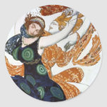 Vintage Women Dancers Round Stickers