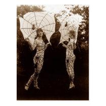 Vintage Women Dressed as Spider Webs Postcard