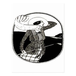 VINTAGE WOMEN GOLFER POSTCARD