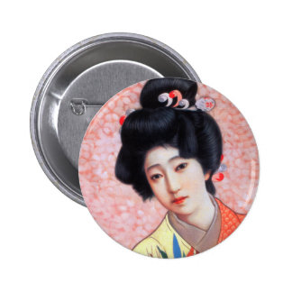 Vintage Women Japanese Beautiful Geisha Girl Button