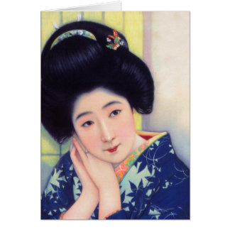 Vintage Women Japanese Beautiful Geisha Girl Card