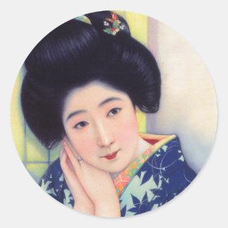 Vintage Women Japanese Beautiful Geisha Girl Classic Round Sticker