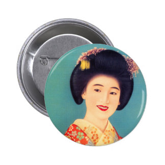 Vintage Women Japanese Beautiful Geisha Woman Pinback Button