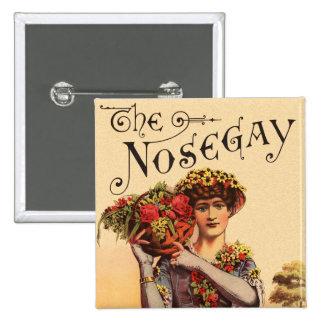 Vintage Women Nosegay Edwardian Flowers Button