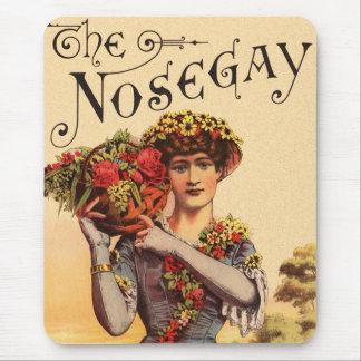 Vintage Women Nosegay Edwardian Flowers Mouse Pad