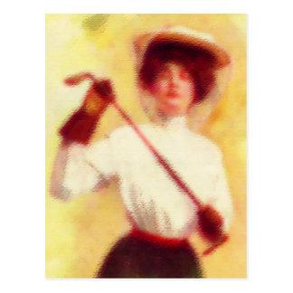 Vintage Women s Golf Fashion Postcard