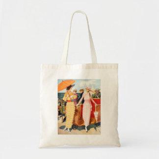 Vintage Women Woman 20s Boardwalk Ladies Budget Tote Bag