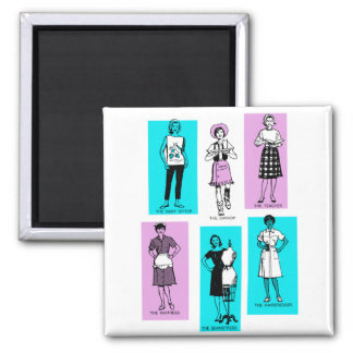 Vintage Women Woman Sixties Occupations Suburbs 2 Inch Square Magnet