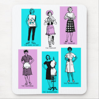 Vintage Women Woman Sixties Occupations Suburbs Mouse Pad