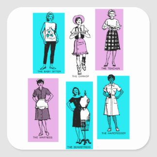 Vintage Women Woman Sixties Occupations Suburbs Square Sticker