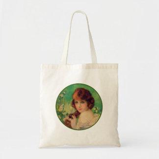 Vintage Women Womans Fashion Portrait Budget Tote Bag