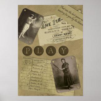 Vintage Women's Baseball Scrapbook Print