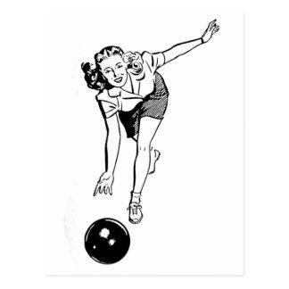 Vintage Women's Bowling Postcard