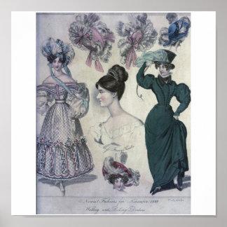 Vintage Women's Fashion 1829 Poster