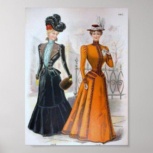 Vintage Women's Fashion 1890's Print