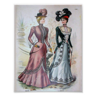 Vintage Women's Fashion 1890's Poster