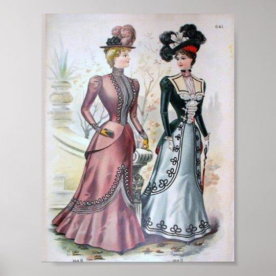 Vintage Women S Fashion 1890 S Poster Zazzle Com