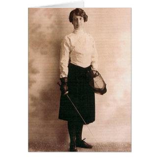 Vintage Women's Foil Fencing Note Card