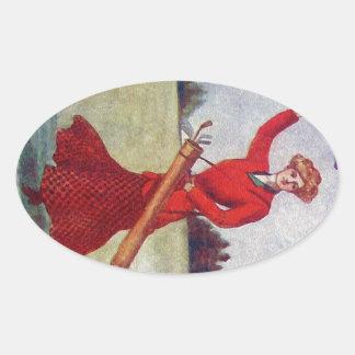 Vintage Women's Golf Fashion 1910s Oval Sticker