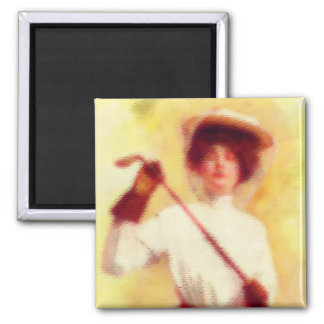 Vintage Women's Golf Fashion 2 Inch Square Magnet