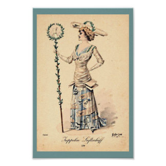 Vintage Women's Zeppelin Hat & Dress Early 1900's Poster