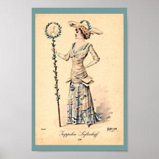 Vintage Women's Zeppelin Hat & Dress Early 1900's Poster