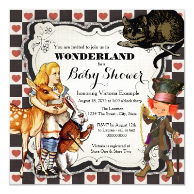 alice in wonderland cheshire tea party birthday card | zazzle,