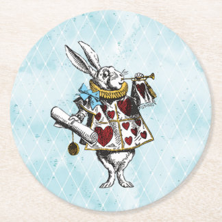 Vintage Wonderland White Rabbit Round Paper Coaster