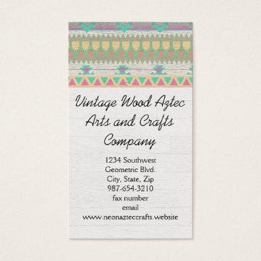 Aztec Themed Vintage Wood Aztec Southwest Geometric Crafts Business Card